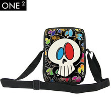 2015 Vintage bag cool skull men messenger bags graffiti men's travel bag crossbody bags for boys casual girls/boy small handbags