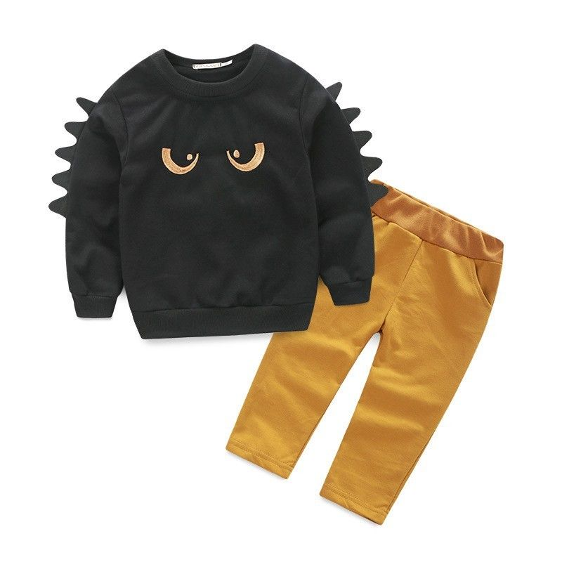 New Casual Monster Baby Boys Kids Long Sleeve Sweat O-Neck Cotton Jumper Top&Pant Outfit Set Clothes