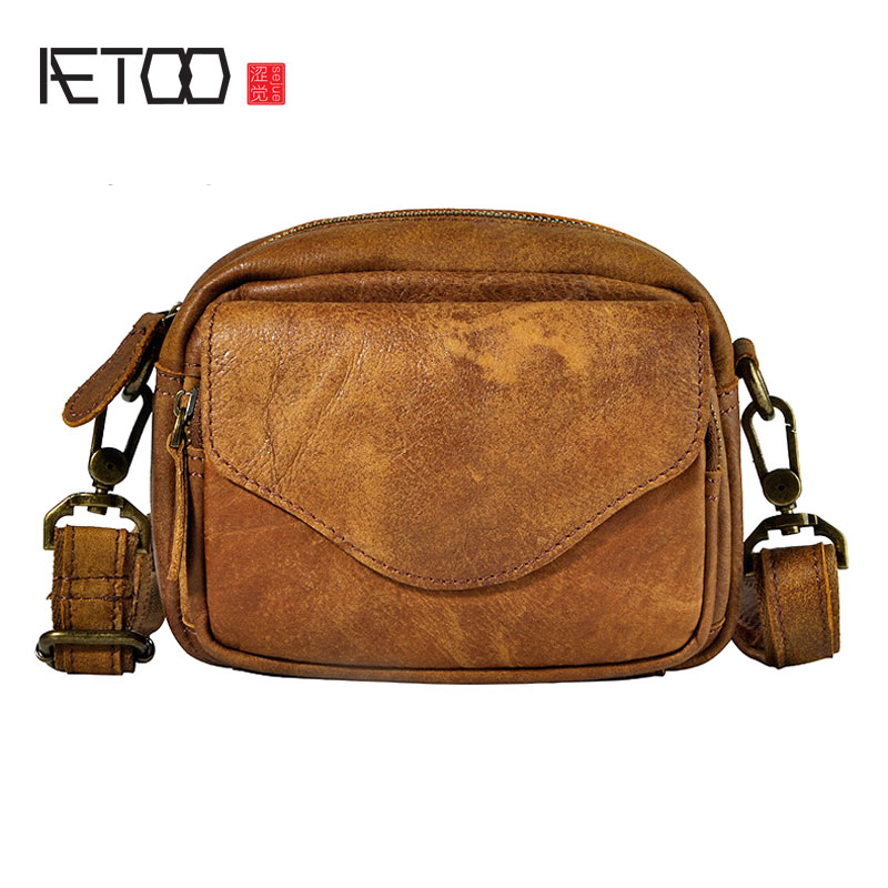 AETOO First layer of scrub oil wax leather leather men tide cool mobile phone 6 inch small waist chest bag