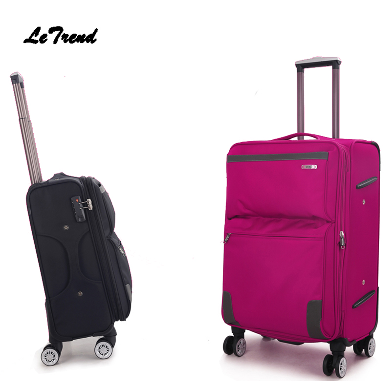 Letrend font b Oxford b font Men Rolling Luggage Spinner Travel Bag Carry On luggage Women