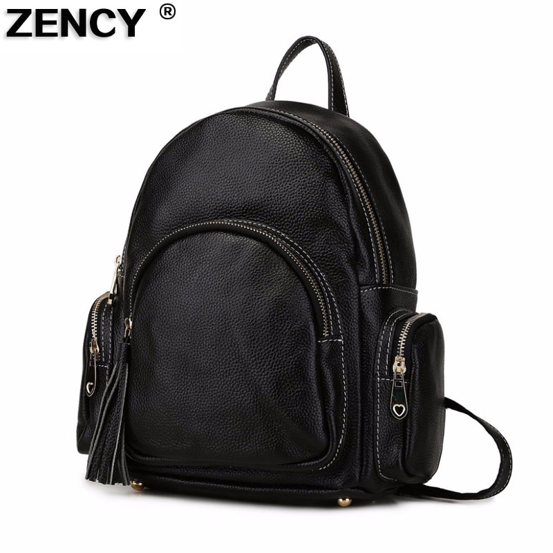 ZENCY Backpack Genuine Leather Women's Backpacks Ladies Casual Shopping Double Shoulder Bag Top Layer Cowhide School Bag Mochila zency genuine leather backpacks female girls women backpack top layer cowhide school bag gray black pink purple black color