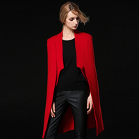2017 new red cashmere coat female shawl in the long slim wool coat trench coats