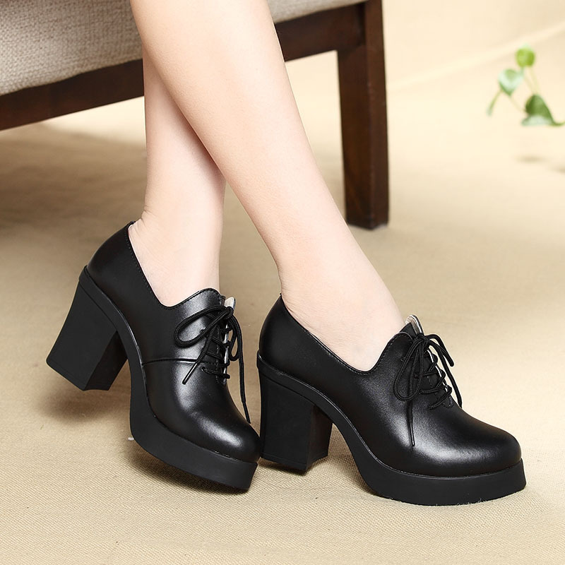 New Women Pumps Shoes Genuine Leather Pointed Toe Lace-Up 8cm & 5cm Thick High Heel Shallow Solid Casual Female Shoes Plus Size