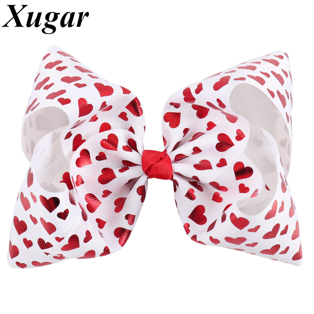 7'' Jumbo Hair Bows with Red Heart Printed Girls Hair Accessories with Clips Children Hairgrips Unicorn Party Hairpins