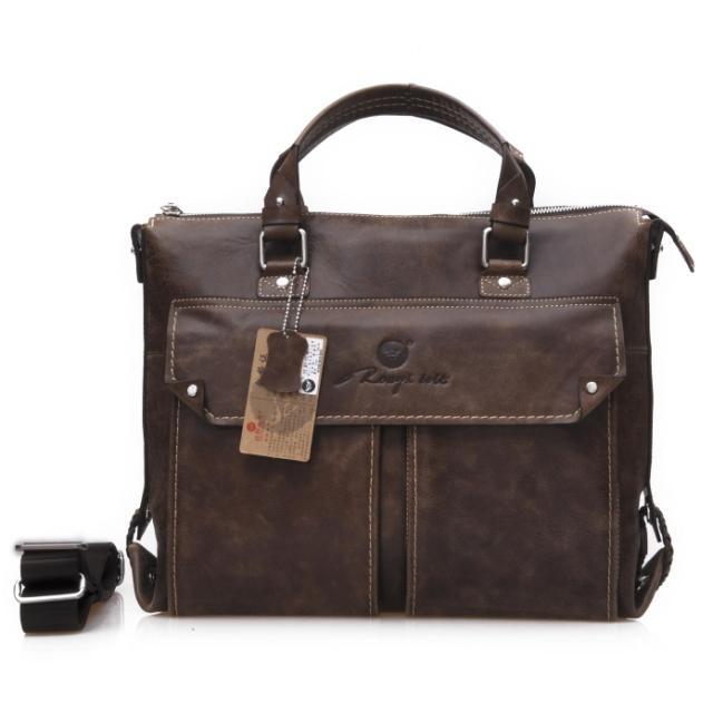 Vintage Genuine leather bag sheepskin bags Men handbag cross-body commercial briefcase one shoulder cross-body laptop bag #0968