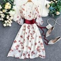 Women Dress Design 2019 Floral Print Vintage Midi Wrap Dress V Neck Slim Sash Tunic Boho Chiffon Sexy Party Dress Robe Femme