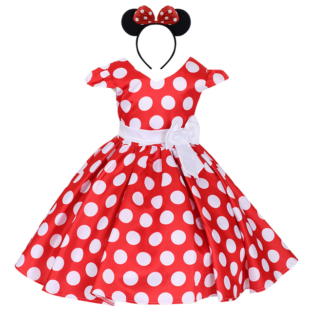 2pcs Minnie Mouse Dress Up Fancy Cosplay Party Polka Dots Dress Headband For Kids Birthday Party Cake Smash Outfit Girls Dress