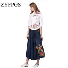 ZYFPGS 2019 Women Skirts Large Size Retro High Waist Pleated Skirt Embroidered Denim Flared Fashion Saia Femininas L0506