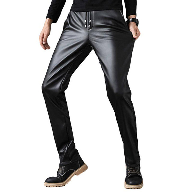 Idopy PU Faux Leather Pants Men Windproof Elastic Waist Motorcycle Biker Business Male Trousers Stretchy Leather With Drawstring 2