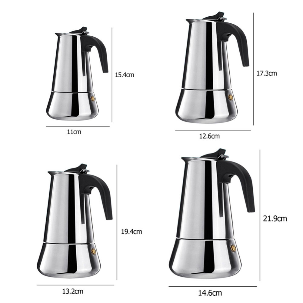 Stainless Steel Stovetop Coffee Maker Pot Mocha Moka Espresso Latte Coffee Pot Filter 100ML 200ML 300ML 400ML Coffee Machine (6)