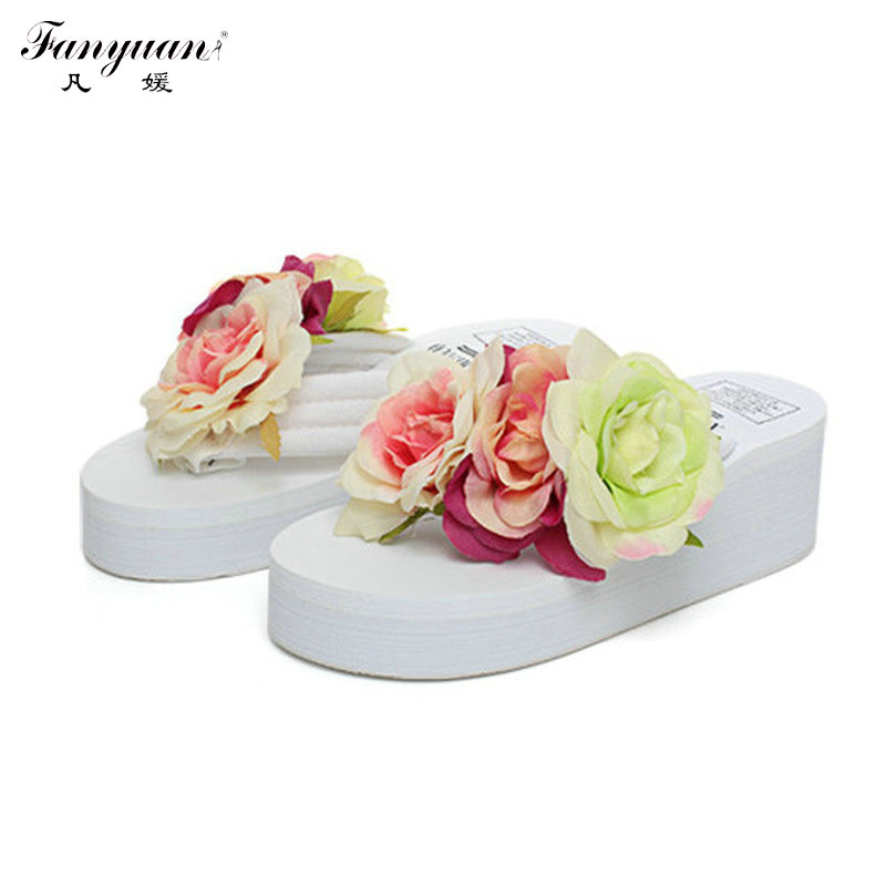 Bohemia Flip Flops 2017 Summer Fancy Women Handmade Flowers Sandals High Wedge Heels Platform Beach Slippers