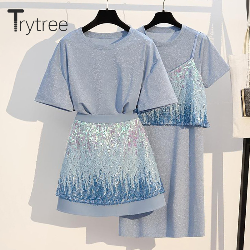 Trytree Summer Women Casual Two Piece Set Casual O-neck Tops + Skirts Mini Suit Gradient Sequined Blue High Street 2 Piece Set