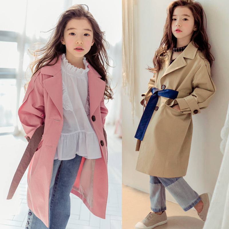 Girls Coats Autumn Long Sleeve Jackets for Girls Clothes Windbreaker Children's Jacket Kids Outerwear Trench Coats Girls Jackets 2018 girls spring autumn trench jackets coats new children s zipper hooded long jacket coat kids windbreaker outerwear clothing