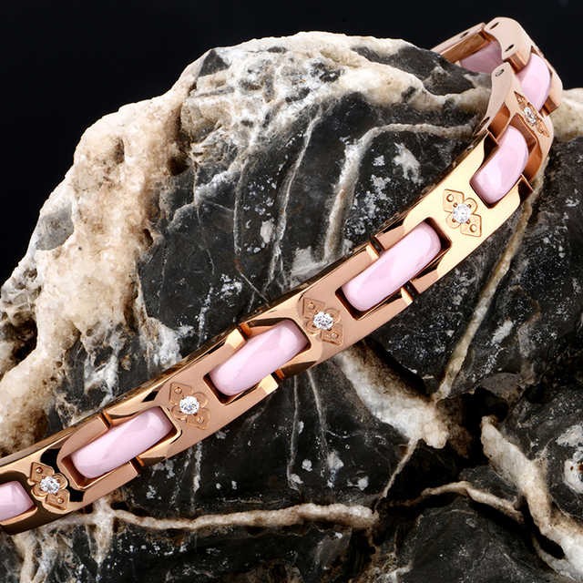 Romantic Pink Ceramic magnetic health Bracelet With Crystal
