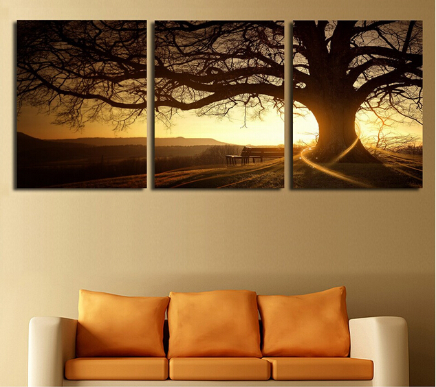 3 Panel Modern Printed Tree Painting Picture Cuadros Sunset Canvas Painting Wall Art Home Decor For Living Room No Frame
