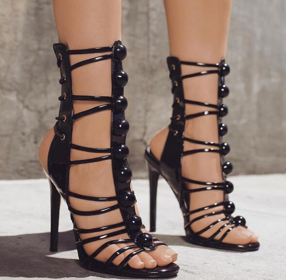 2017 Newest Rose Gold Patent Leather Women Open Toe Sandals Button T-Straps Ladies Sexy High Heels Lace Up Club Fashion Stiletto 2018 summer hot women gladiator sandals gold rivet leather straps sexy open toe ladies fashion high heels party stiletto size 42