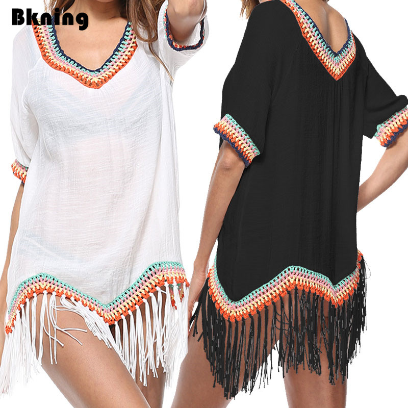 be28099026f84 Tassels Tunic Beach Cover Ups Bathing Suit Wear White Dress Women Maios  Beachwear Dresses Kaftan Black Bohemia Outlet Saida de