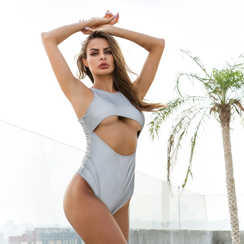 Reflective Silver Hollow Out Sexy Bodysuit 2019 Summer Clothes for Women Short Overalls Sleeveless Tank Top Rompers Jumpsuits