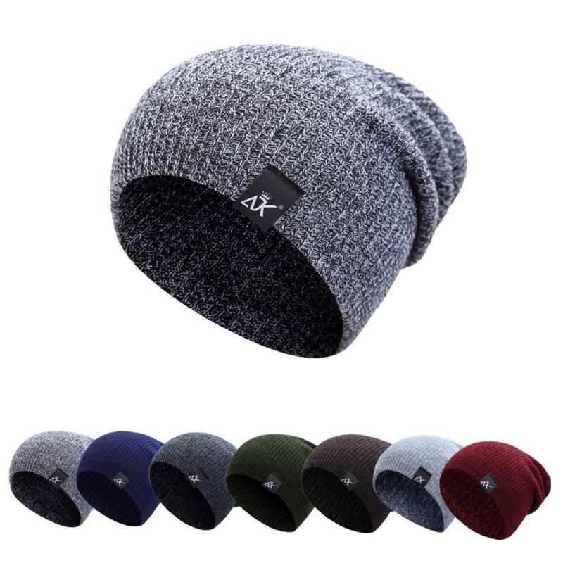 Winter Thick Warm Wool Knitted Unisex Caps Baggy   Beanies   Women Men Soft Slouch Stocking Hat   Skullies     Beanies   Bonnet Ski Hat