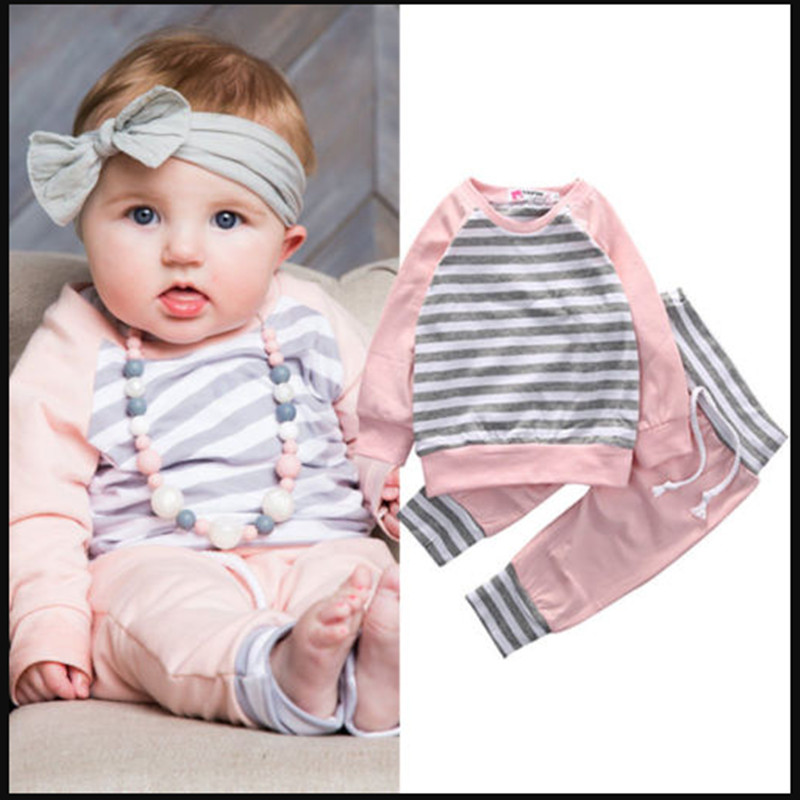 Cute Pink Newborn Infant Cute Baby Girls Clothes Long Sleeve Striped T-shirt Tops+Long Pants Baby Clothing Outfits Baby 2PCS Set kids newborn infant baby girl gifts clothes floral long sleeve tops shirt pants trousers outfit set
