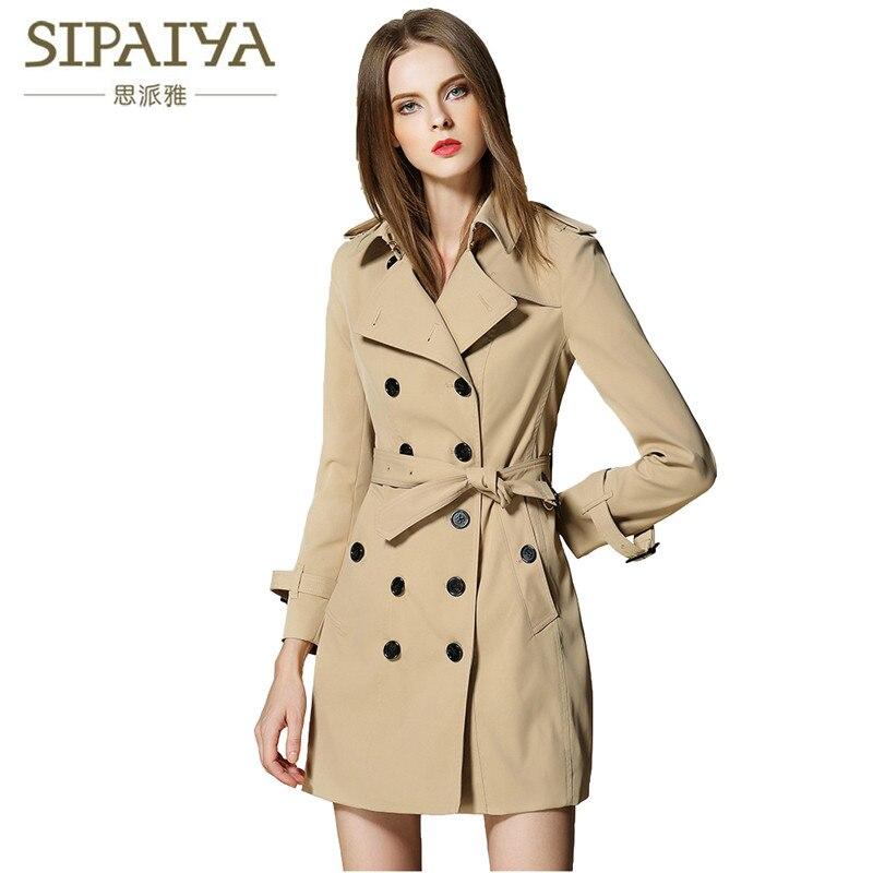 SIPAIYA 2017 Style britannique Trench Bur marque élégant femme Long manteau automne hiver Trench manteau pour les femmes