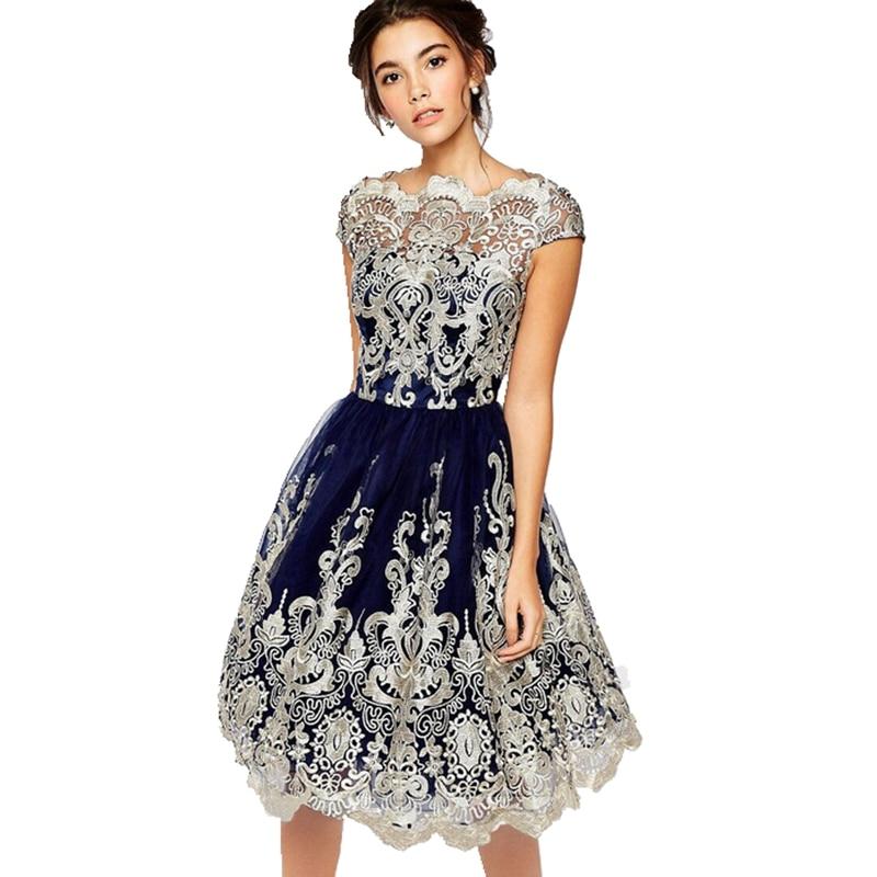 Элегантный для женщин кружево платья для летние выпускные Цветочные Формальные Вечеринка бальное платье Лидер продаж