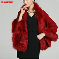 Winter Cardigans Fur Coat Snow Wear Wool Blend Faux Fox Fur Coat Cardigan Women Knitted Sweater Womens Capes and poncho Femme