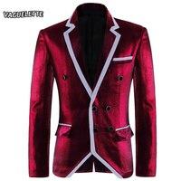 Plus Size Elegante Jaqueta Fase Vinho Tinto Homens Slim Fit Blazer Para Os Homens Blazer Moda de luxo Elegante Vestido de Festa de Casamento S-4XL