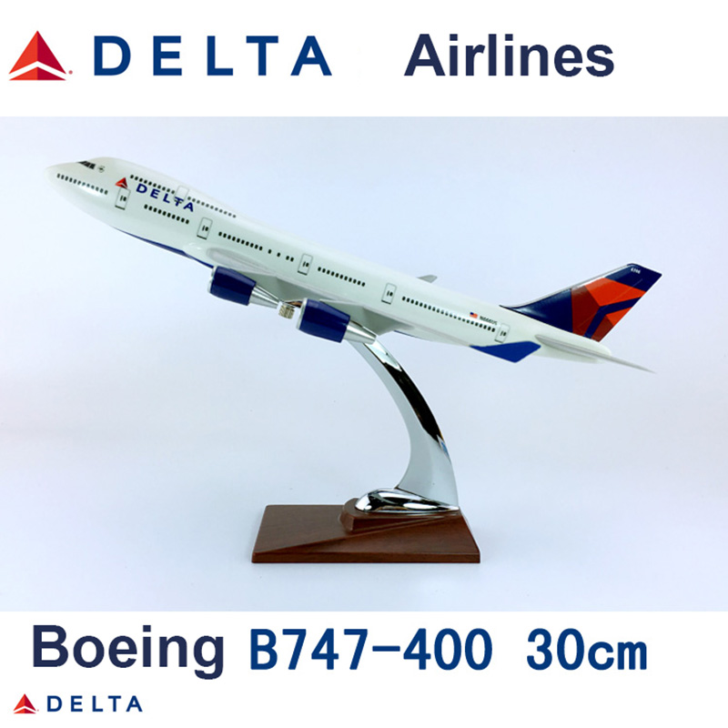 30CM 1 230 scale Boeing B747 400 model DELTA airlines with base alloy aircraft plane collectible