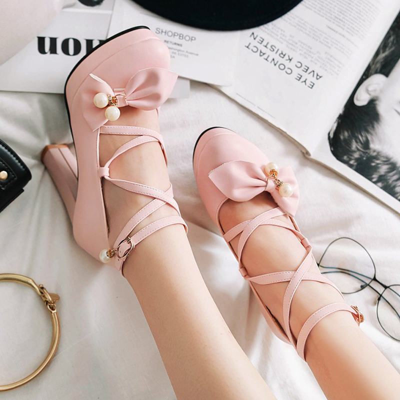 Rimocy Lovely Women Pink Bowtie Ankle Strap Pumps 2019 Spring High Platform Square Heels Shoes Woman Party Weeding Dress Shoes