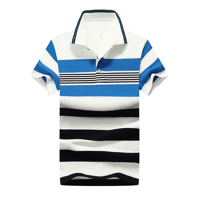 92% Cotton camisa Men Polo Shirt  2015 Casual Striped Slim short sleeves ASIAN SIZE M-4XL 2