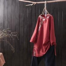 Sen สไตล์แห่งชาติวรรณกรรมเย็บปักถักร้อยแผ่นปุ่มเสื้อยาวส่วนผ้าฝ้ายผ้าลินินบริการชา หญิง เสื้อผ้า
