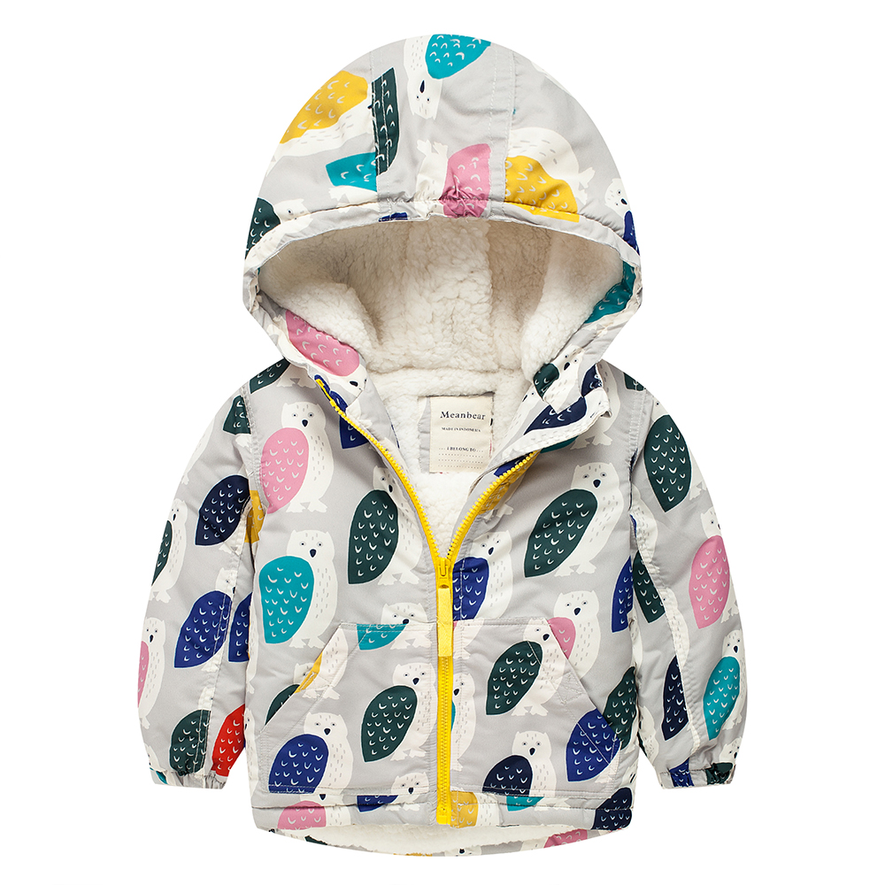 M45 Fashion Owl Winter Cotton Chirden Thicken Padded Lining Jacket Hoodies Keep Warm Boy Girl Coat Tops Outwear m43 spring autumn winter child thicken padded lining jacket hoodies boy