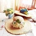 Цветочные рафии соломенные шляпы для женщин женский цветок летом гирлянды дамы широкими полями пляж шляпы большой широкими полями вс шапки новый бренд