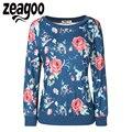 Zeagoo Alta Calidad Mujeres Camiseta de Moda de Manga Larga del O-cuello Sudaderas Floral Impreso Pullover Hoodies Flojos Ocasionales Chándal