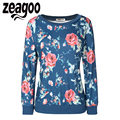 Zeagoo High Quality Women Hoodies Fashion Long Sleeve Sweatshirts O-Neck Floral Printed Pullover Hoodies Casual Loose Tracksuit