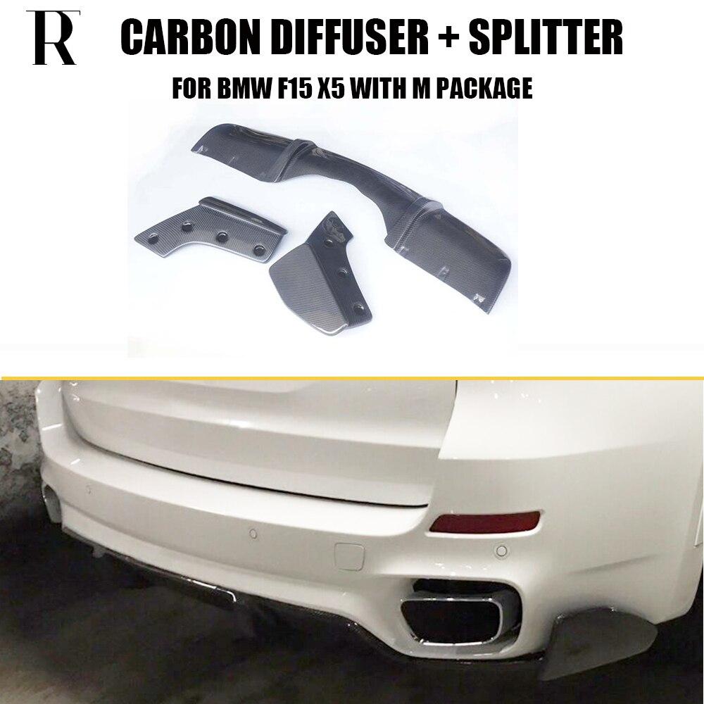 F15 X5 En Fiber De Carbone Pare-chocs Arrière Diffuseur avec Splitter Tablier pour BMW F15 X5 M-tech M-sport pare-chocs Seulement 2014 UP