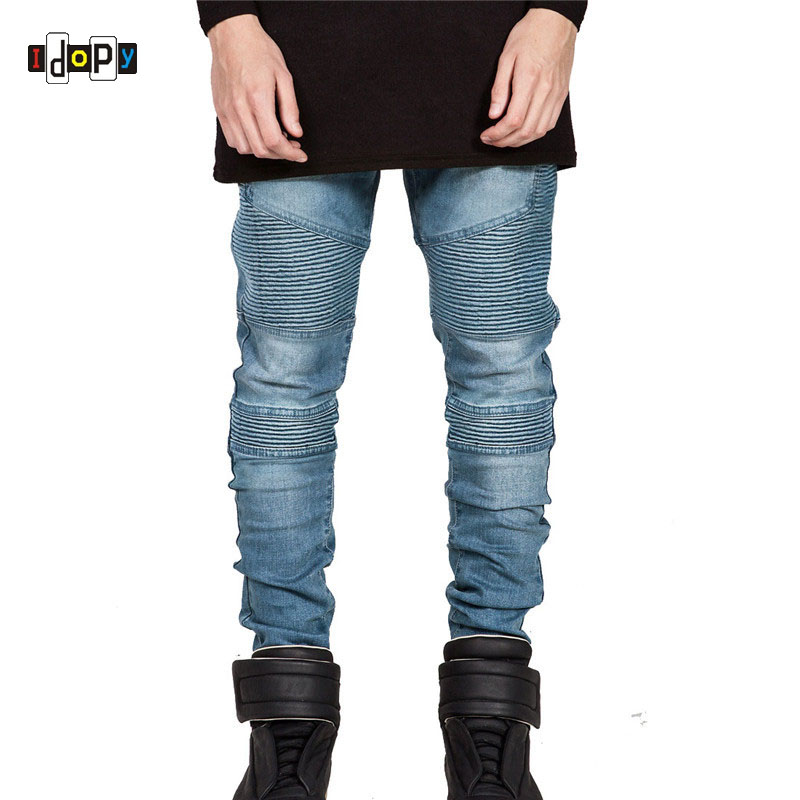 Runway Rider Mens Skinny Slim Fit Motorcycle Washed Vintage Ripped Washed Hip Hop Elastic Denim Pants Biker Jeans For Men mens skinny jeans men runway distressed slim elastic jeans denim biker jeans hip hop pants washed pleated jeans blue
