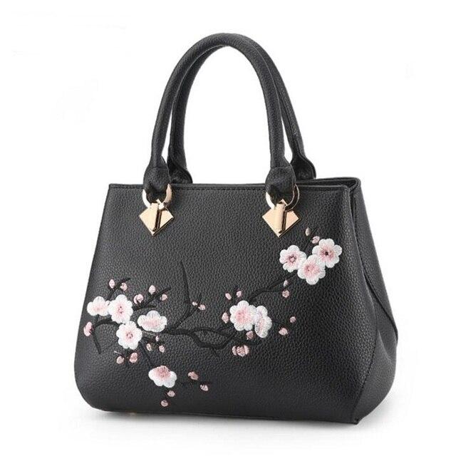 Women Fl Embroidery Handbag Good Leather Tote Bag Shoulder Crossbody Las Handbags Womans Purse Sac A