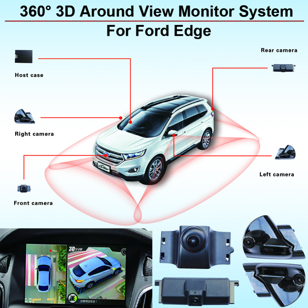 Vehicl Car 360 3D Around View Monitor AVM System Surveillance Panoramic Security Outdoor Camera Video DVR Recorder for Ford Edge