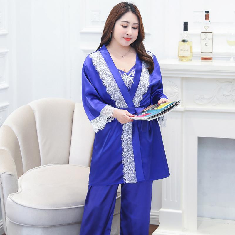 New Blue Plus Size 4PCS Cami&Shorts&Pants&Robe Home Clothes Women Big Size Satin Nightwear Lace Trim   Pajamas     Set   Sexy Lingerie