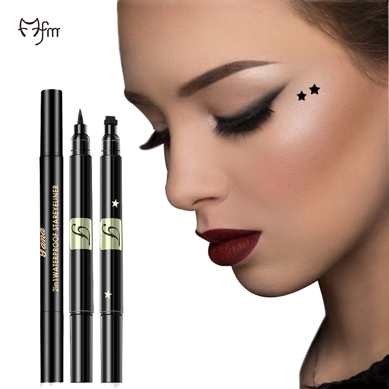 FM Double Head Eyeliner Cute Heart Moon Shape Eyeliner Waterproof Sweat Beauty Big Eyes Eyeliner Makeup Tools