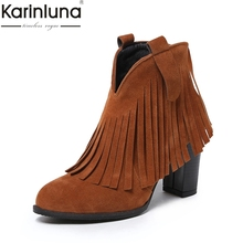 KARINLUNA 2018 dropship large Size 33-42 fringe women Ankle Boots Shoes high heel autumn winter woman shoes female western boots