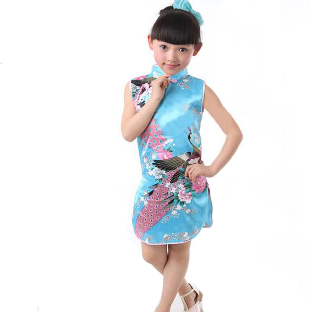 Kids Children Girls Classic Floral Peacock Chinese Cheong-sam Qipao Summer Dress for Performance Birthday Homely Day Party Acc