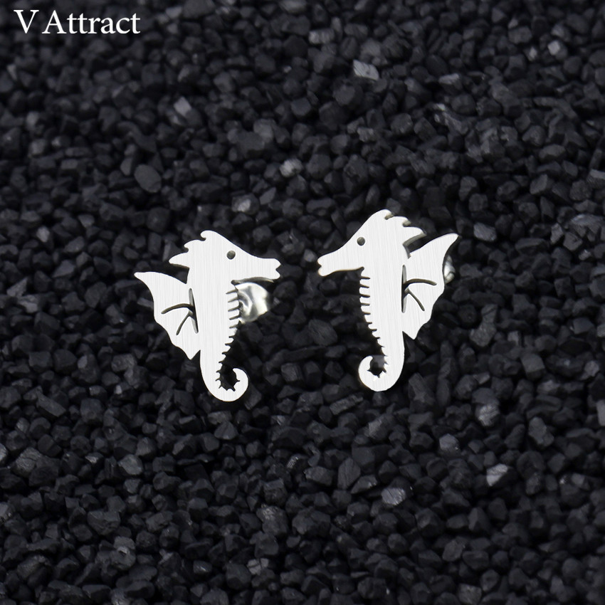 f925e4e08 V Attract Stainless Steel Cute Little Seahorse Stud Earring For Women Gold  Silver Minimalism Sea Horse Pendientes Gold Silver-in Stud Earrings from  Jewelry ...