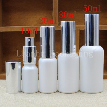 Wholesale 10ml 20ml 30ml 50ml Silver Spray Bottle,Pearlescent White Glass Bottle,Toner/Essential Oil Packaging Container