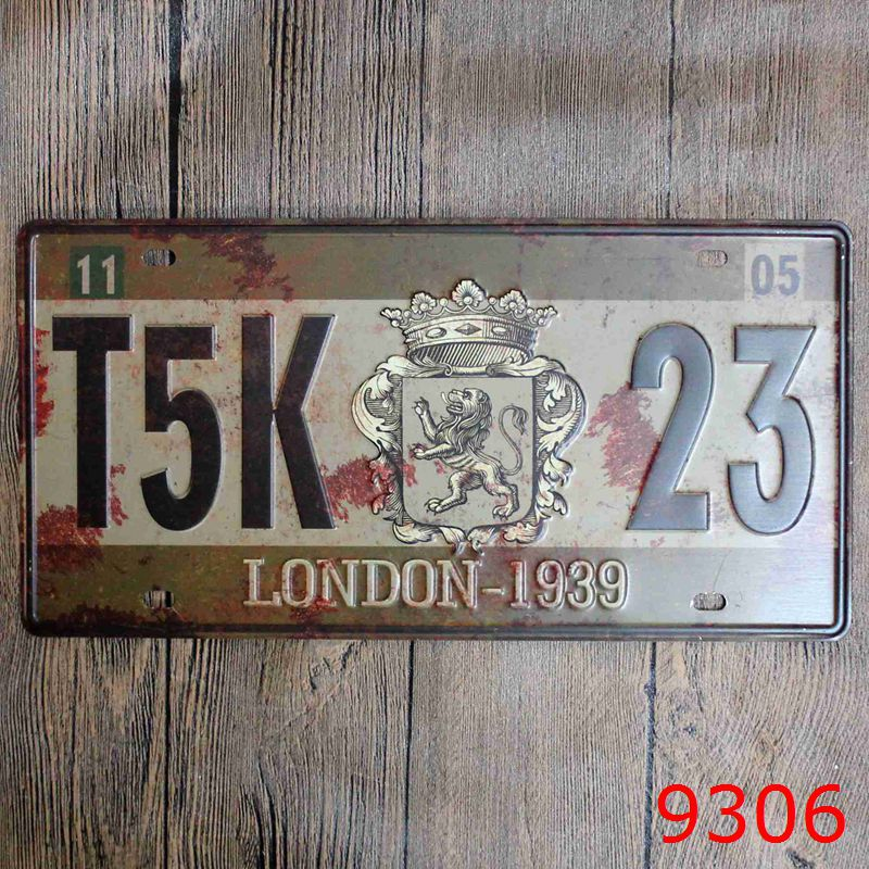 Car License London 1939 Vintage Home Decor Tin Sign For Arto Store Wall Decor Metal Sign