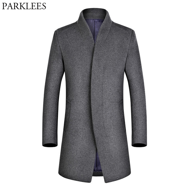 48bb660fef88 Men s Long Trench Coats 2017 Winter Wool Trench Coat Men Casual Slim Fit  Mens Overcoat Single Breasted Woolen Pea Coat Jacket