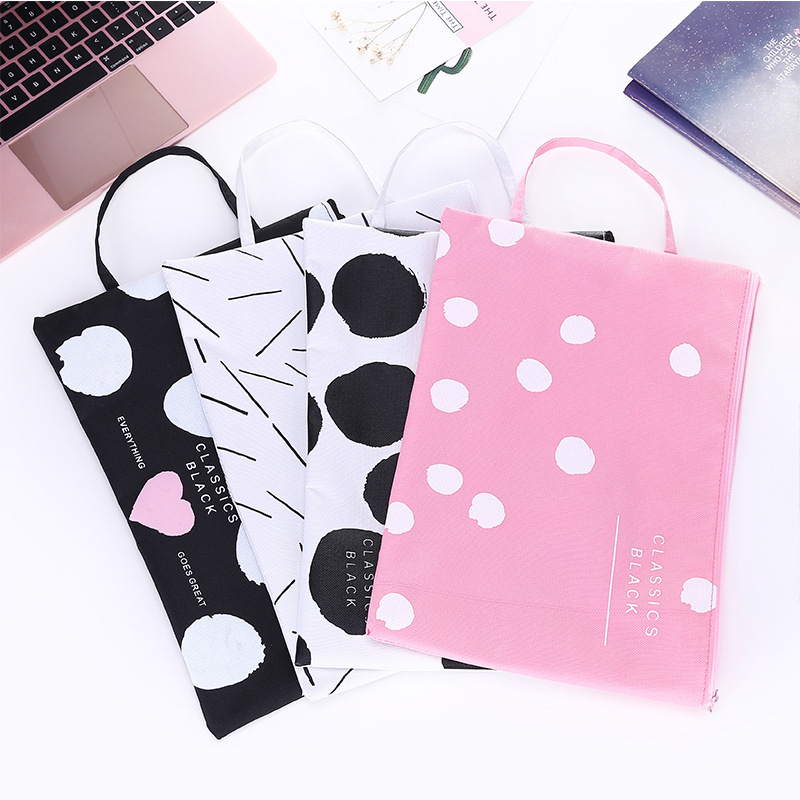 Big Size Cute A4 Document Bag File Holder Kawaii Canvas Cartoon Dot Handle Storage Zipper For Student Kids School Office Supply