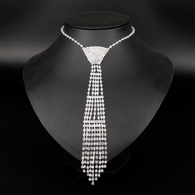 MQCHUN New Design Wedding Jewelry Necklace Bride Rhinestone Tie Accessories Wedding Jewellery Statement Necklace for Gift